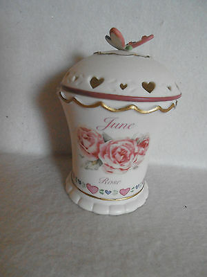 Avon China Birth Month June Flower Rose Candle Holder New