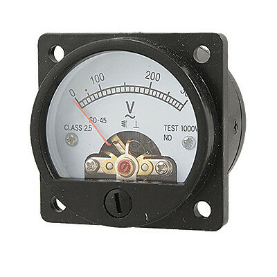 AC 0-300V Round Analog Dial Panel Meter Voltmeter Gauge Black New S3R5