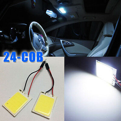 2x HID White 24COB LED Panel Light For Car Interior Door Trunk Map Dome Light aa