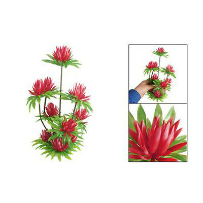 1pc Plastic Plant Ornament Red Simulated Water Lily Lotus for Fish Tank Aquarium