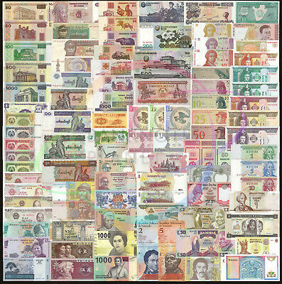 100 PCS Different Mix World Banknotes 35 Countries Genuine Currency Notes UNC
