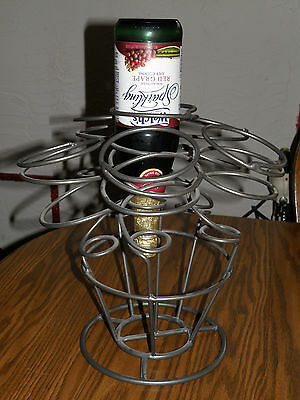 Wrought Iron Metal Wine Rack 6-Bottle Silver Gray Sturdy Bar Tabletop Holder