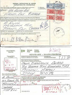 Canada1979 Parcel card to Italy with DUE PARCEL STAMP !! (card folded)