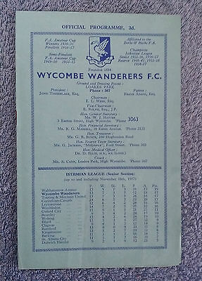1957 - WYCOMBE WANDERERS v TOOTING & MITCHAM PROGRAMME - Isthmian League