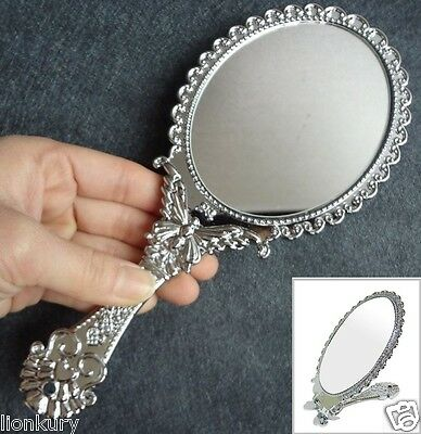 Vanity Folding Mirror Silver Princess Mirror, Handheld Vanity Style Mirror