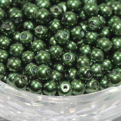 50Pcs Army Green Glass Pearl Czech Round Loose Spacer Beads Jewelry Making 6mm