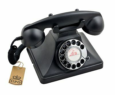 GPO 200 Telephone Old Fashioned Retro Black Desk Phone with Working Rotary Dial