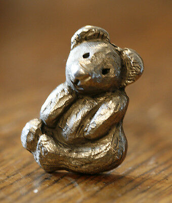 Vintage Teddy Bear Cabinet Drawer Pull Antique Silver Rustic Metal Toy Child