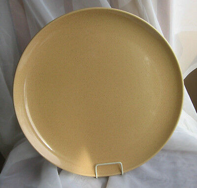 """Taylor Smith Taylor Pebbleford SAND Speckled Tan 13"""" Chop Cake Plate MCM EXC"""