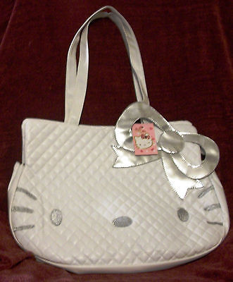 Sanrio HELLO KITTY Purse Handbag Large QUILTED White Silver Cat Pull BLACK Liner