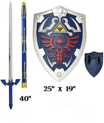 Carbon Steel Legend of Zelda Links Master sword and shield set cosplay full size