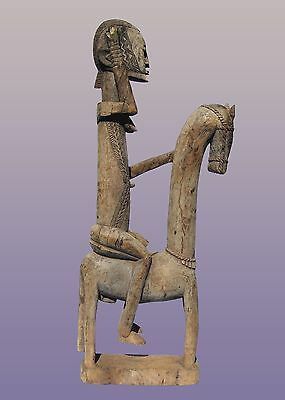 """African Dogon Horse and Rider From Mali 53"""" Tall"""