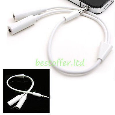 Gold 3.5mm Jack Male to Twin Female Cable lead Stereo AUX Y Headphone Splitter