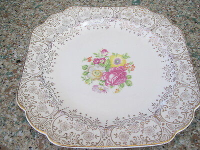 """Canonsburg Pottery Keystone Lajean 22K gold trim 7 1/2"""" sq luncheon plate-excond"""