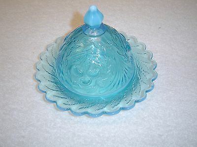 L G Wright Glass Co. Blue Opalescent Butter Dish w/Cover