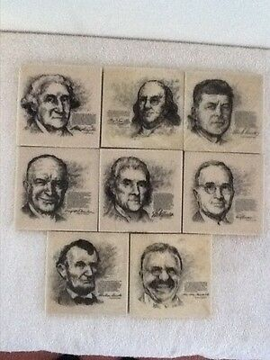 8 Vintage Presidential Coasters, Made Out Of A Bone Material