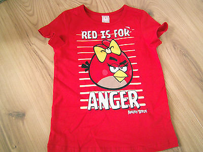 Girls Kids Red Is For Anger Angry Birds Short Sleeve Summer T-Shirt Top New