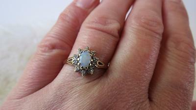 Vintage 9CT Yellow Gold Oval Opal Diamond Cluster Flower Ring Size Q