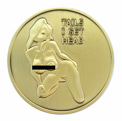PinUp Heads and Tails Good Luck Challenge Coin Gift for Man