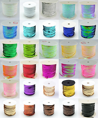 6 mm Strung Flat Sequins-Various colours and lengths available- Cheapest on Ebay
