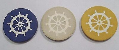 Lot of 3 Vintage Inlaid Ships Wheel Poker Chips