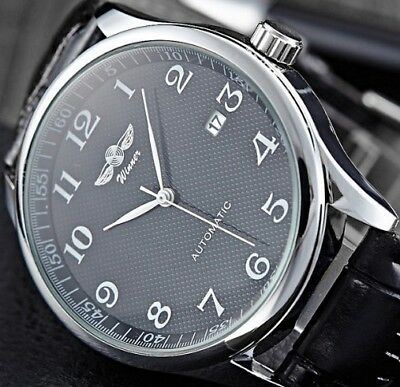 Classical Mens Automatic Mechanical Date Leather Stainless Steel Wrist Watch