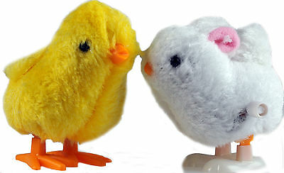 Set Of 2 Wind Up Hopping / Jumping Bunny Rabbit And Chick - Easter Toys