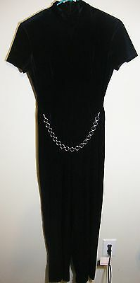 Vintage Black Velour Jumpsuit Faux Chain Belt Womens 12 Jaclyn Smith