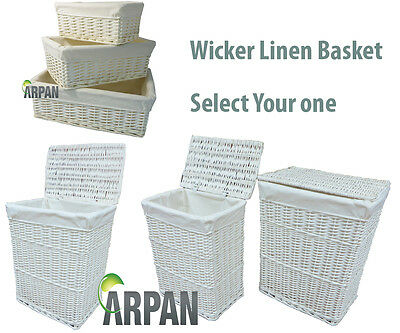 White Wicker Wht Linning Linen Laundry Basket /Bin Storage Trunk Basket Hamper