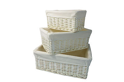 ~ White Wicker Storage Basket With Lining Gift Hamper In Small,Medium/ Large ~