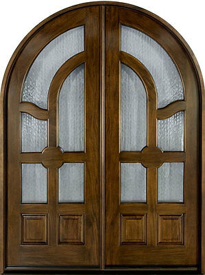 Solid Mahogany Wood Entry Door Double Prehung Walnut Finish 006 DD