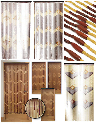 Wooden Bamboo Beaded Door Curtain Decorative Keeps Flies Bug Out Assorted Design
