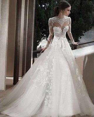 High neck keyhole back long sleeve a-line wedding dress bridal gown tailor-made