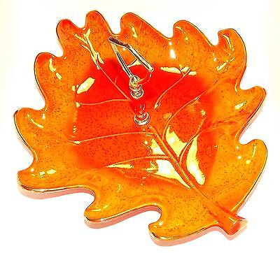 CALIFORNIA POTTERY ORANGE LEAF SHAPED SERVING TRAY