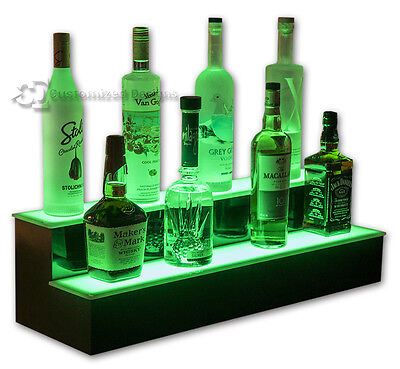 "32"" 2 Step Lighted Bottle Shelves, LED Liquor Display Tiers, Color Changing"