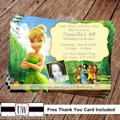 Tinkerbell Fairies Birthday Invitation Disney Party Printable Invitations