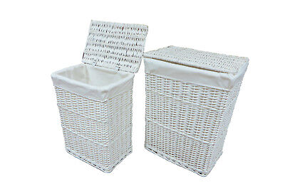 Arpan Large Or Medium White Wicker LAUNDRY BASKET Storage With Lid/White Linning