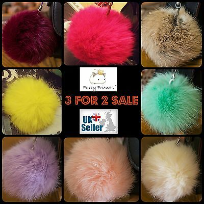 Keyring Fur Girls Puff 8cm Pom Detail Hair Ball Kids Child Add Pink Blue Grey