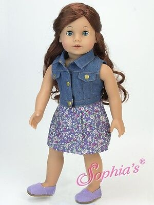 "Doll Clothes 18"" Dress Denim Vest by Sophia Fits American Girl Doll"