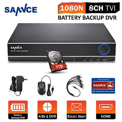 SANNCE 1080N Battery Power Backup DVR Motion Detection Security CCTV Recorder 1T