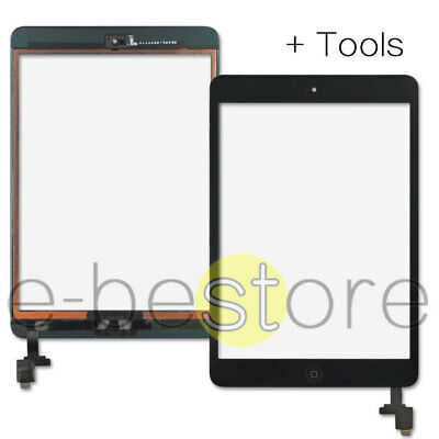 For Black iPad mini 1/2 Touch Glass Digitizer Screen Replacement IC Home Button