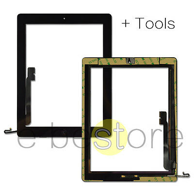 For iPad 4 Black Touch Screen Replacement Digitizer Glass + Button & Adhesive UK