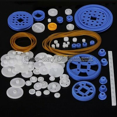 80 Kinds 0.5 modules Plastic Shaft Rack Reduction Worm Gears Belt Pulley DIY