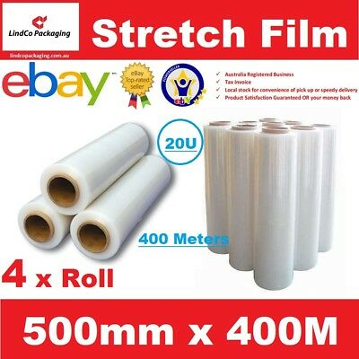 4 x 500mm x 400m Meter - CLEAR - Hand Stretch Film Pallet Shrink Wrap Roll