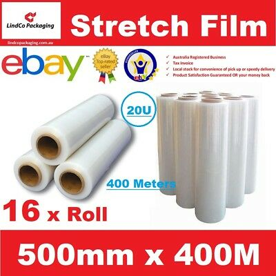 16 x 500mm x 400m Meter - CLEAR - Hand Stretch Film Pallet Shrink Wrap Roll
