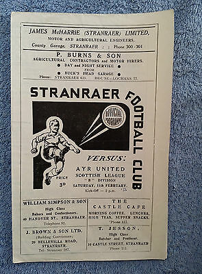 1956 - STRANRAER v AYR UNITED PROGRAMME - Scottish Division Two