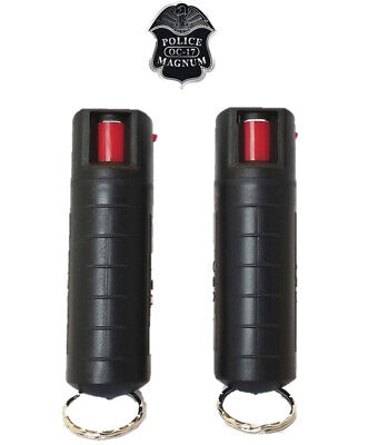 2 PACK Police Magnum pepper spray 1/2oz refill Black Molded Keychain Security
