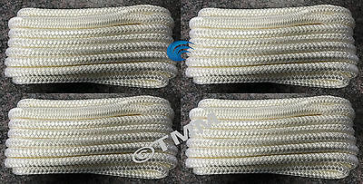 "(4) White Double Braided 1/2"" x 25' ft Boat Marine HQ Dock Lines Mooring Ropes"