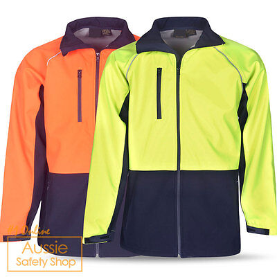 Hi Vis Unisex Day Tradie Stylish Waterproof Windproof Safety Soft Shell Jacket