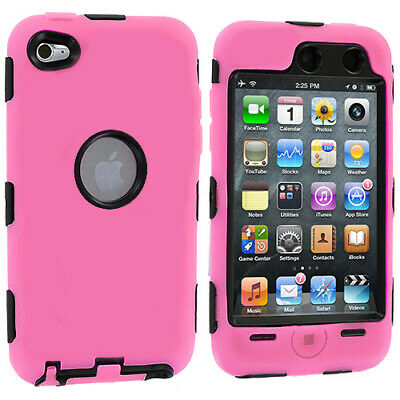 Deluxe Pink 3-Piece Hard/skin Case+Protector Cover For Ipod Touch 4 4Th Gen